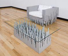 стеклянный столик с ножками из труб ПВХ