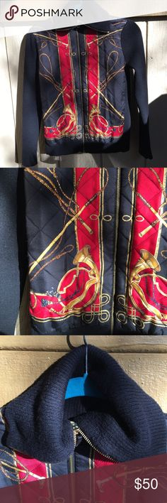 """❤FLASH SALE ❤ 🎂HP🎂 LRL knit and silk jacket lions, tigers, and bears, oh my! this knit jacket features a quilted silk front with everything you think of when you hear """"circus master."""" in EUC less one snag on the front. Lauren Ralph Lauren Jackets & Coats"""