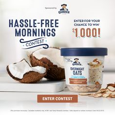 QUAKER® HASSLE-FREE MORNINGS CONTEST. Check this out...really fast & easy to enter !!