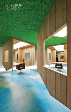 I am also head over heels for Salon Himmelblau in Italy. Blue skies painted onto the floor and polystyrene foam on the ceilings painted lawn green...amazing.