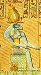 """""""KHNUM, dios al que se le rendía culto en torno a la primera catarata como guerdián de las fuentes del Nilo.  Asociado al culto solar de Ra, tuvo honores bajo la forma de Khnum-Ra. Para la leyenda, Khnum creó al primer hombre a partir de arcilla, moldeándolo con una rueda de alfarero. Se le representaba con el cuerpo humano, pero con la cabeza de macho cabrío con los cuernos horizontales."""""""
