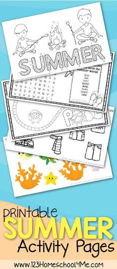 123 Homeschool 4 Me: FREE Summer Kids Activity Sheets
