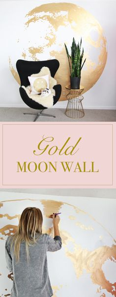 Love this DIY Gold Moon Wall project for a statement wall! #Ad