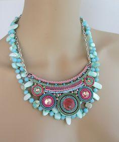 collar boho multi-Coraza - encantos de cerámica / cristal - turquesa Nácar