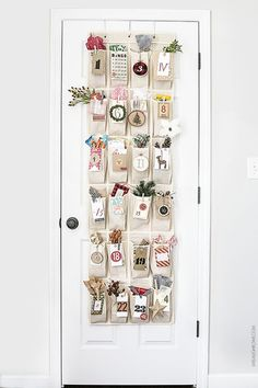 Create an over-the-door Advent Calendar using a shoe organizer! Pockets are great for the gifts. Two FREE sets of printable number tags too! Homemade Calendar, Homemade Advent Calendars, Advent Calendars For Kids, Advent Calander, Advent Calendar Gifts, Diy Calendar, Calendar Printable, Christmas Love, All Things Christmas