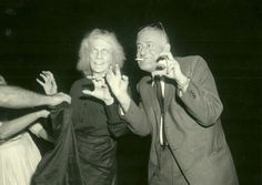 """William Castle and Leona Anderson (Mrs. Slydes) on the set of """"House on Haunted Hill"""" (1959). Scariest scene ever!"""