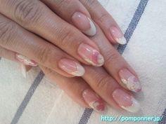 Spring Nail   Nail French and white roses  白のフレンチとバラのネイル 春ネイル