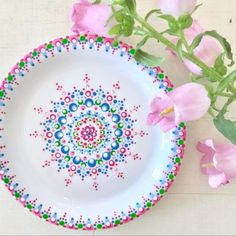#lovelydots 😍 Pottery Painting Designs, Pottery Designs, Paint Designs, Pottery Art, Dot Art Painting, Mandala Painting, Ceramic Painting, Painted Plates, Hand Painted Ceramics