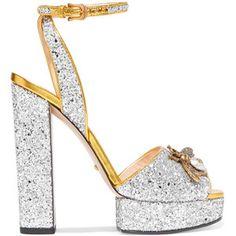 Gucci Embellished glittered leather platform sandals