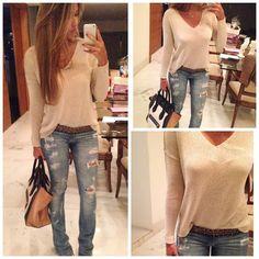 #ShareIG Fim do dia assim {jeans rasgada + Tricot lindo - novidade na loja} #look #lovea (31)8532-2913