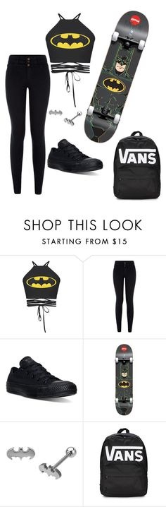 """""""Batman"""" by recklessndivine ❤ liked on Polyvore featuring New Look, Converse and Vans"""