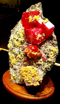 The Alma Rose, a rhodochrosite specimen on display at the Rice Northwest Museum of Rocks and Minerals. Rhodochrosite is a manganese carbonate mineral.