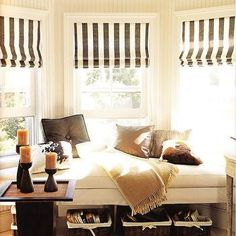 A home may not always be complete without a bay window seat. Whether it is a house or an apartment, you can have at least one. Make sure that these bay window seats are suitable for the whole conce… Style At Home, Bay Window Treatments, Window Coverings, Treatment Rooms, Window Benches, Window Seats, Window Blinds, Window Bed, Privacy Blinds