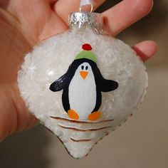 Penguin Christmas Ornament Hand Painted by Ann ... | Handmade Favor...