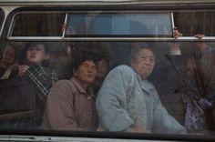 North Korean commuters ride inside a trolly car in Pyongyang, North Korea on April 9, 2012. By David Guttenfelder