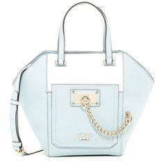 GUESS Forget Me Not Tulip Satchel ($55) ❤ liked on Polyvore featuring bags, handbags, ice, blue studded handbag, top handle handbags, chain handle handbags, studded handbags and guess purses