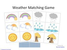 Free printable weather matching game  Print or make pairs of weather cards for a great memory/matching game!
