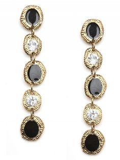 """Etch Base Drop Earrings  Classic black and crystal drop earrings are given an edgy vibe set in an etched base in an antique hue. Five bronzed gold-tone circular shapes hold black enamel and crystal embellishment and are hung in a row.    BB Spotting: As seen on Nikki Reed         * Post Back      * Materials: Enamel, Crystal, 18kt Gold-Plated Brass      * Length: 3.5"""", Width: 0.375"""""""