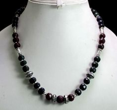 (SKU No. 318ct) 318ct Natural Sapphire,Ruby & Emerald Designer Beads Necklace Faceted with Silver Beads