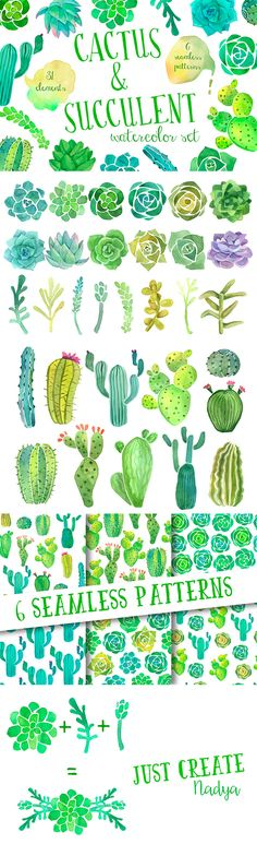 Love this set of hand drawn watercolor succulents and cacti! You get transparent PNGs, an EPS and a PSD. These will look cute on wedding invitations, greeting cards, and other stationery.