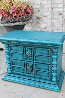Peacock blue painted end table
