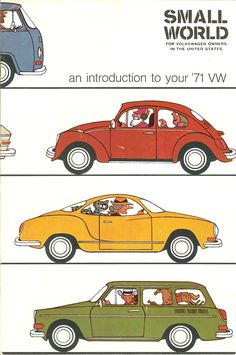 Cover of the Small World magazine for VW owners in the Unknown artist. Volkswagen of America. Auto Volkswagen, Volkswagen Karmann Ghia, Ferdinand Porsche, Station Wagon, Carros Vintage, Vw Modelle, Auto Union, Vw Vintage, Vw Cars