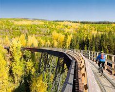 Mountain Biker on Bellevue Trestle, Kettle Valley Rail Trail Near Kelowna, British Columbia, Canada - Stock Photos : Masterfile Mtb, Places To Travel, Places To See, Canada Travel, Canada Trip, Visit Canada, Bike Trails, Vancouver Island, British Columbia