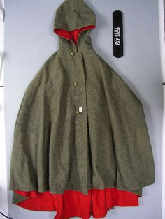 A woman's coat made from captured Confederate Army gray cloth.