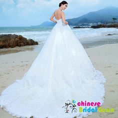 Style 2071, Stunning Organza Ball Gown Strapless Chinese Wedding Dress by CBG.