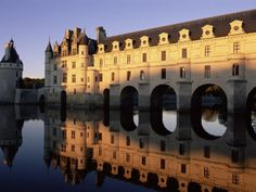 Chateau of Chenonceau, Loire Valley.    Chateau de Chenonceau has been described as the most beautiful of Chateaux. The Renaissance chateau stretches across the River Cher on piers. Chenonceau is one of the few Chateaus that you can view without a guide.- My absolute favorite!