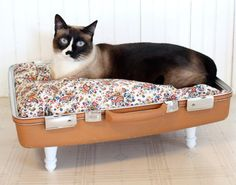 suitcase pet bed vintage fabric and recycled table legs