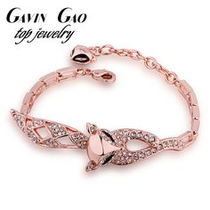 Top Quality Rose Gold Plated Cute Fox Charm Bracelet For Women With AAA+ CZ Diamond Party Jewelry