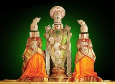 Malayappa swami with his consorts - Sridevi (left) and Bhudevi (right) Sri Venkateswara Temple, Tirupati, AP, India