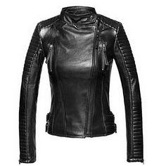 Leather Slim Biker Motorcycle Soft Zipper