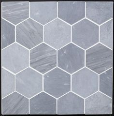 "Floor: Grey Bardiglio Marble Hexagon 4"" Honed, but with darker grout. $33.95/sf"