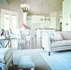 White and blue decor