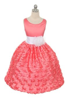 Elegant Coral Ribbon Flower Girl Dress This pretty tea length dress is fully lined and has an additional layer of lining in the skirt. This pretty dress has a removable sash and flower and the color shade can be replaced for several different styles. Unique Dresses, Pretty Dresses, Coral Flower Girl Dresses, Lace Skirt, Lace Dress, Tea Length Dresses, Pretty Little, Different Styles, Elegant