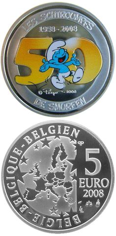5 euro The Smurfs - 50th Anniversary (colored) - 2008 - Series: Silver 5 euro coins - Belgium Collector Coin Database