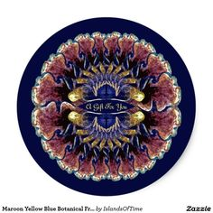 Maroon Yellow Blue Botanical Fractal Art Template Classic Round Sticker