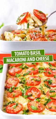 Tomato Basil Macaroni and Cheese Yummy Pasta Recipes, Veggie Recipes, Dinner Recipes, Cooking Recipes, Veggie Food, Yummy Food, Cheese Recipes, Tasty, Macaroni Cheese