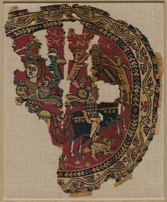 Alexander the Great on Horseback, 700s Egypt, Islamic Umayyad or Abbasid period, 8th century dyed wool, undyed linen; plain weave and slit-tapestry weave, 1959.123