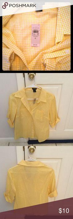 Ann Taylor Checked Top Brand new Ann Taylor button down checked yellow top. Ann Taylor Tops Button Down Shirts