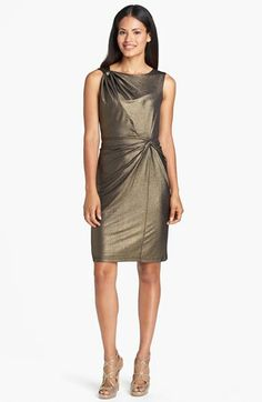Ellen Tracy Side Knot Metallic Jersey Sheath Dress available at #Nordstrom