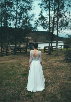 Beautiful DIY rustic NSW wedding. Lace and flowing gown. Pretty flowers in her hair. Too easy.