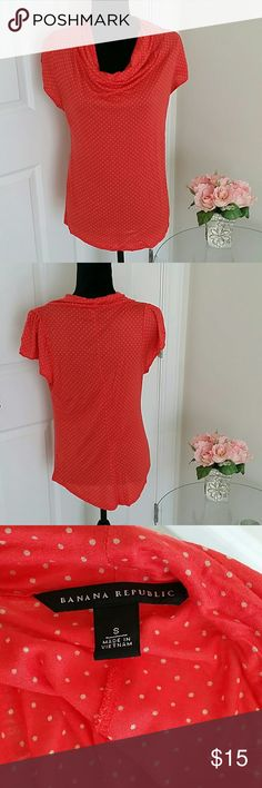 NWOT Banana Republic size small blouse 👉Description : polka dotted fabulous l stylish l soft l super comfortable l banana Republic cowl neck l Short sleeves. 👉Material : banana Republic 70%rayon 30% lyocell. 👉Color : orange. 👉Condition : Excellent l No snags l no damage l No stains l No snags l No holes . 👉Measurements : Will be provided on request. 👉Discount with bundles. No trades 🚫 Banana Republic Tops