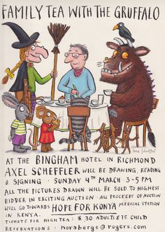 Family tea with the Gruffalo! Illustration Children, Children's Book Illustration, Fun Art, Cool Art, Gruffalo's Child, Axel Scheffler, The Gruffalo, Adorable Pictures, Poster Prints