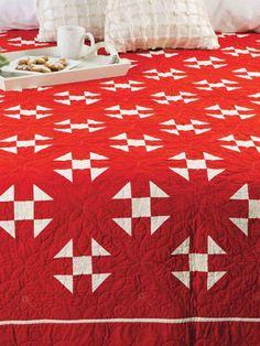 Dasher Dancer Quilt | Quilter's World Autumn 2013.  Red & White Churn Dash quilt pattern.