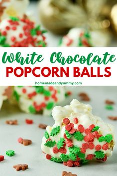 Perfect little white chocolate covered popcorn snowballs dressed up for the holidays.