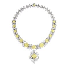 FANCY YELLOW DIAMOND AND DIAMOND NECKLACE. The pendant centring on a radiant-cut fancy yellow diamond, suspending from a necklace set with thirteen similarly-cut fancy yellow diamonds, decorated by brilliant-cut, marquise-shaped and tapered baguette diamonds, completed by a yellow diamond-set clasp, the fancy yellow diamonds and diamonds together weighing approximately 63.76 and 44.50 carats respectively, mounted in 18 karat yellow gold and platinum.