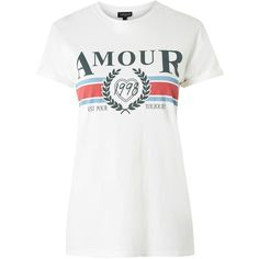 Topshop Tall 'Amour' Slogan T-Shirt (5.440 HUF) ❤ liked on Polyvore featuring tops, t-shirts, topshop, white, tall white t shirts, white cotton tops, white cotton t shirts, tall tops and white tees